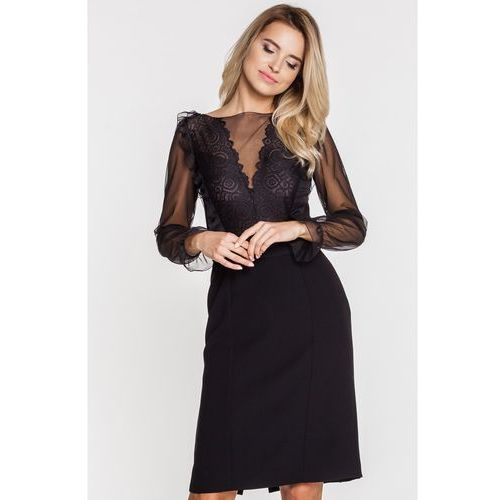 Gapa fashion Elegancka sukienka z koronkowym dekoltem -