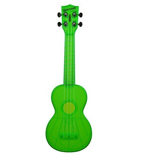 Kala ka-swf-gn waterman, ukulele sopranowe z pokrowcem, fluorescencyjny zielony