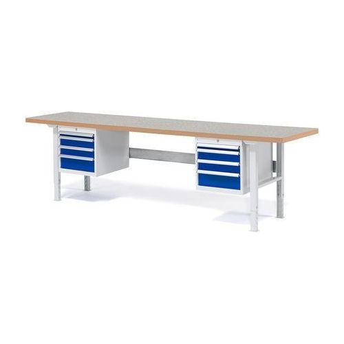 Stół roboczy Solid, 8 szuflad, obciążenie 750 kg, 2500x800 mm, winyl