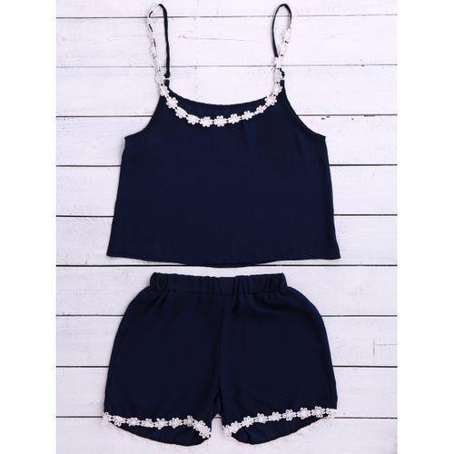 Chic Spaghetti Strap Laciness Tank Top + Elastic Waist Shorts Women's Twinset