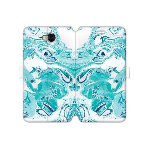 Etuo wallet book fantastic Huawei y5 (2017) - etui na telefon wallet book fantastic - niebieski marmur