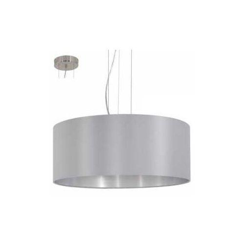 Lampa wisząca Eglo Maserlo 31606 z abażurem 3x60W E27 szary/srebrny