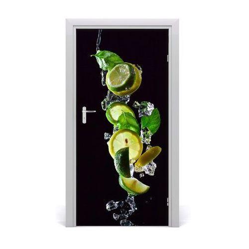 Naklejka na drzwi samoprzylepna Limonka i cytryna