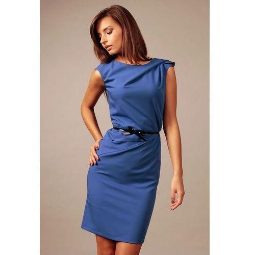 Chabrowa Elegancka Koktajlowa Sukienka z Paskiem, kolor niebieski