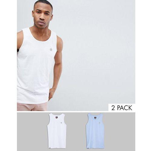 Le Breve 2 pack Basic Raw Edge Vest - White