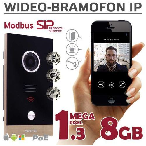 Safe Wideodomofon IP SAFE G06MP na iOS, Android, Windows (SIP,ModBus,ONVIF, PoE) - 1.3MP - 8GB G06MP - Autoryzowany partner Safe, Automatyczne rabaty., G06MP