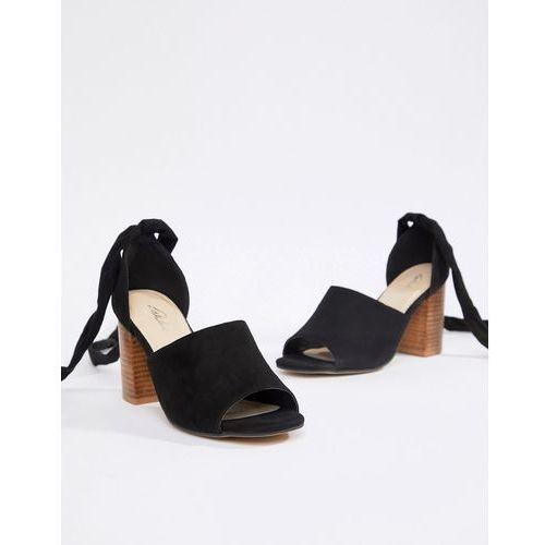 Park Lane Tie Leg Block Heeled Sandals - Black