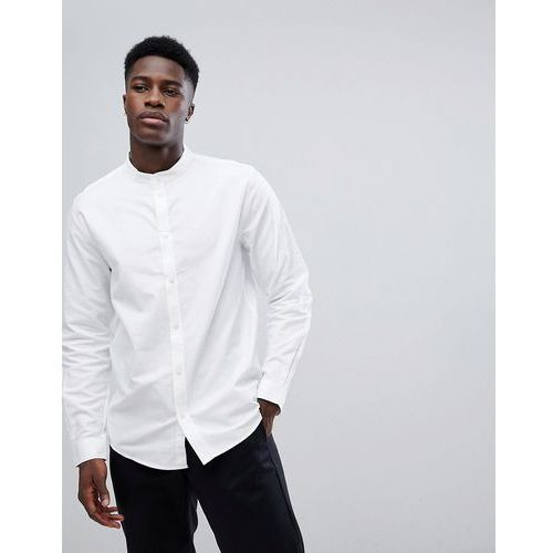 haring grandad collar twill shirt - white marki Weekday