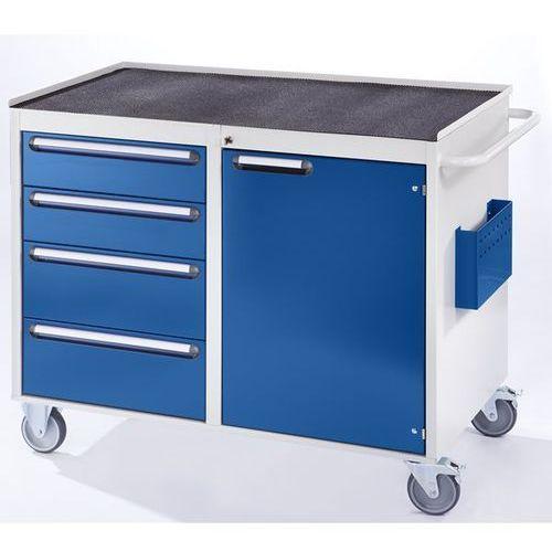 Stół warsztatowy, ruchomy, 4 szuflady, 1 drzwi, półka metalowa z matą gumową, ja