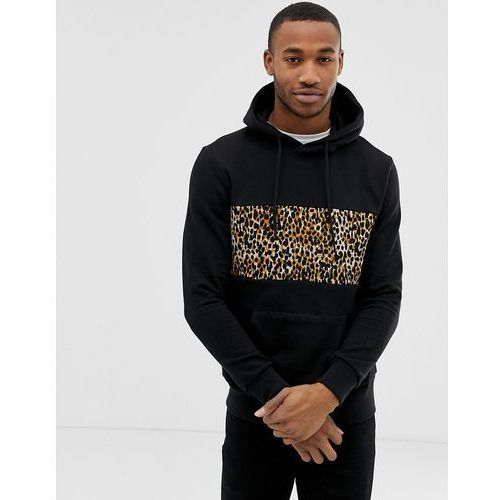 Bershka hoodie in black with leopard chest print - black