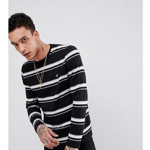 Heart & Dagger Striped Long Sleeve T-Shirt In Textured Nep Fabric - Black, kolor czarny