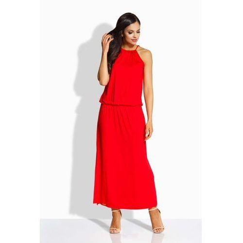 Czerwona Maxi Sukienka z Rozcięciem, w 3 rozmiarach