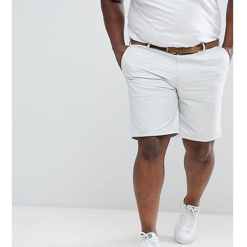 River island big and tall slim fit belted chino shorts in light grey - grey