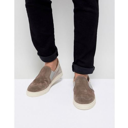 Selected Homme Premium Suede Slip On Trainers - Grey, kolor szary