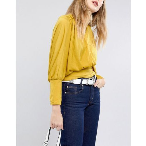 ASOS Leather Western Tip Waist and Hip Belt in White - White