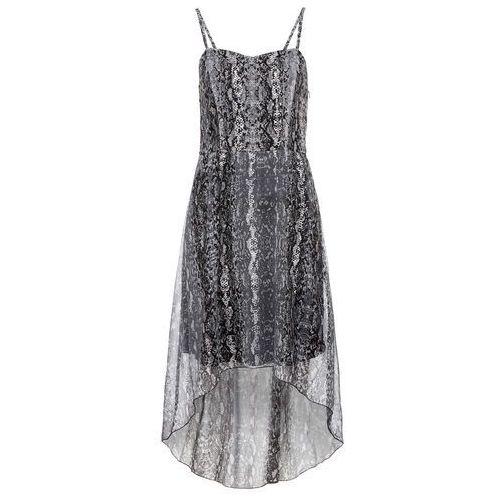 Bonprix Sukienka z dłuższym tyłem czarno-srebrny