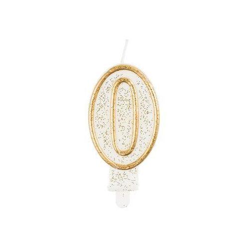 Go Świeczka cyferka ze złotą obwódką i brokatem - 0 - 1 szt. (5902973103700)