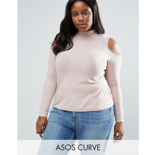 ASOS CURVE Top with Cold Shoulder and High Neck in Clean Rib - Pink ()