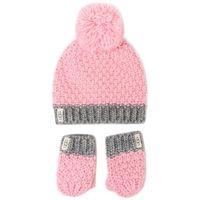 Ugg Zestaw czapka i rękawiczki - k infant knit hat and mitt set 18802 seashell pink