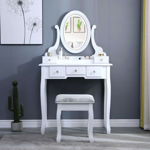 Toaletka kosmetyczna z lustrem - viola - biała + taboret marki Meblin