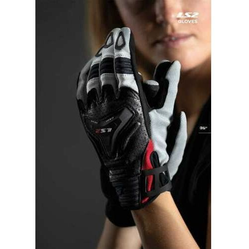 RĘKAWICE MOTOCYKLOWE DAMSKIE RĘKAWICE LS2 ALL TERRAIN LADY BLACK GREY RED - Damskie, AK70120F0032