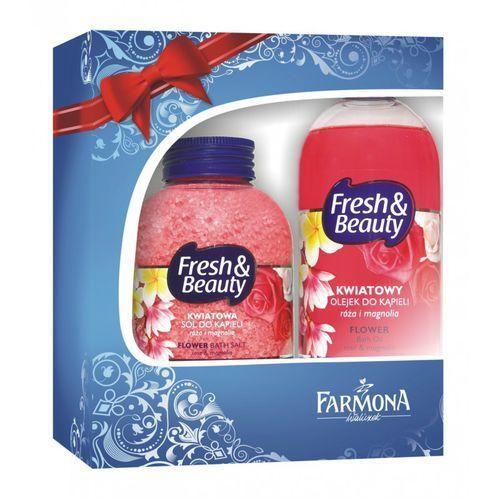 Zestaw Świąteczny Fresh&Beauty Kwiatowy (Sól do kąpieli + Olejek do kąpieli) - produkt z kategorii- Sole i kule do kąpieli