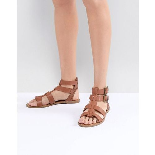 New Look Leather Look Gladiator Flat Sandal - Tan