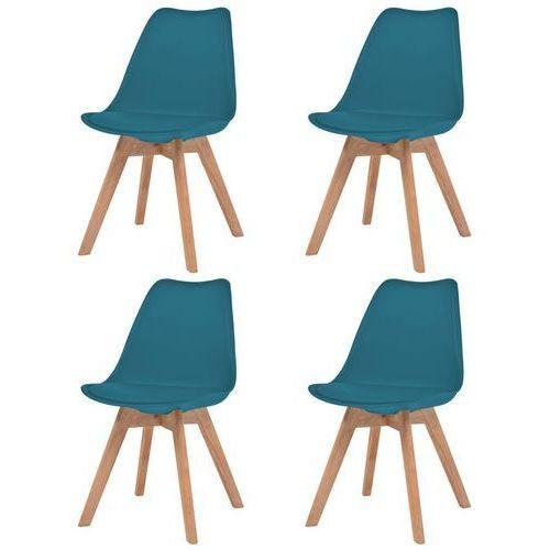 Krzesła, 4 sztuki, sztuczna skóra, lite drewno, turkusowe