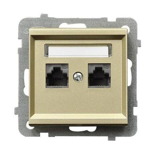 Gniazdo komputerowe podwójne kat. 5e, MMC Szampański złoty - GPK-2R/K/m/39 Sonata, GPK-2R/K/M/39
