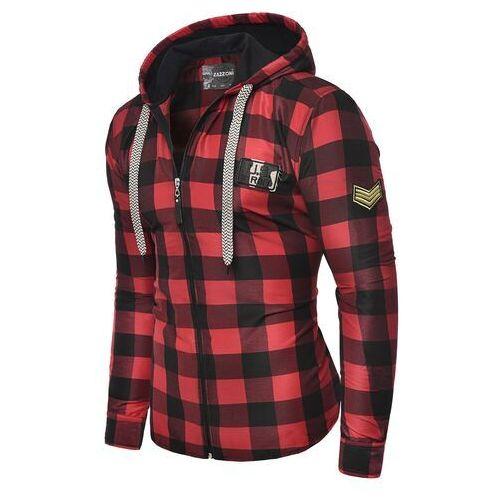 Modna męska koszula rl60 - czerwona marki Risardi