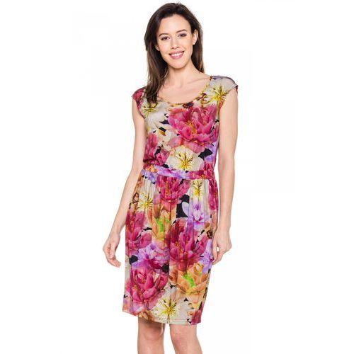 Zwiewna sukienka w duże kwiaty - Bialcon, kolor różowy