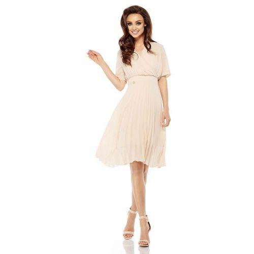 Beżowa Elegancka Kopertowa Sukienka z Plisowanym Dołem, w 2 rozmiarach
