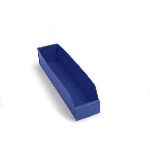 Skrzynki regałowe z tworzywa, składane, dł. x szer. x wys. 450x100x100 mm, niebi