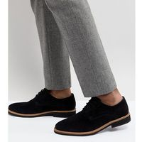 Silver street wide fit lime derby shoes in black sued - black