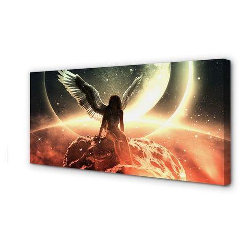 Obrazy na płótnie Kobieta skrzydła meteoryt księżyc