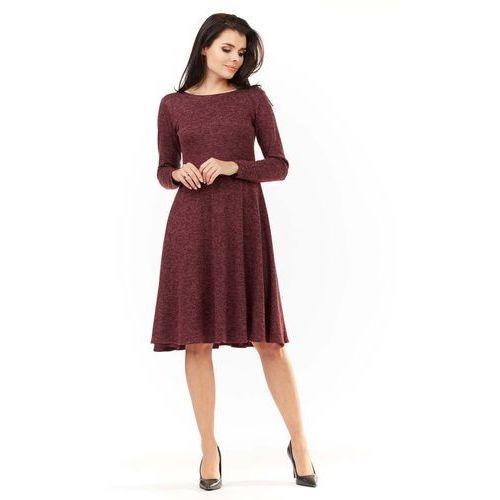 Bordowa klasyczna rozkloszowana sukienka melanżowa, Awama, 36-42
