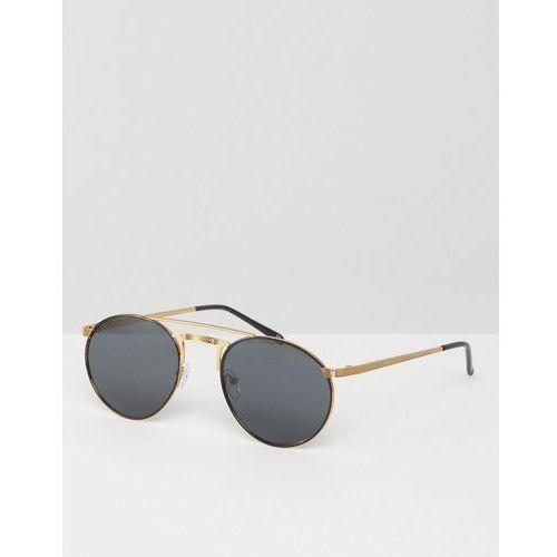 ASOS Metal 90s Round Sunglasses With Flat Lens & Contrast Gold Metal Work - Black, towar z kategorii: Pozostałe