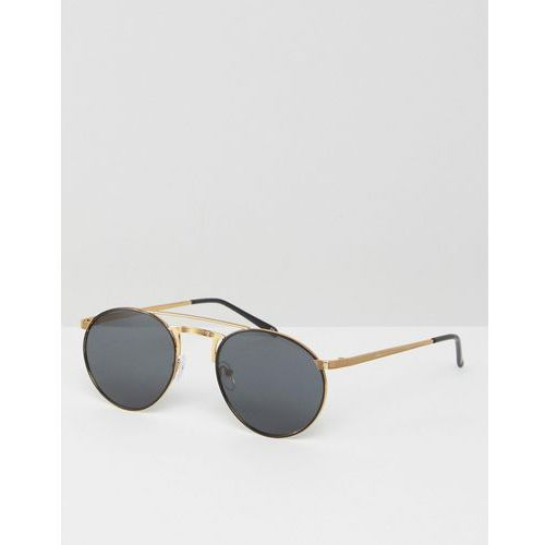 ASOS Metal 90s Round Sunglasses With Flat Lens & Contrast Gold Metal Work - Black