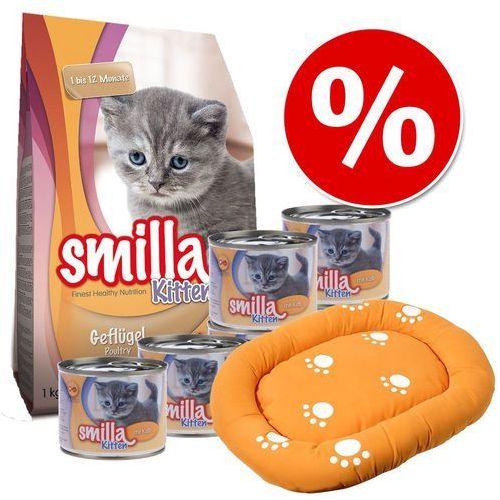 Smilla Kitten pakiet startowy + legowisko - 1 kg karmy suchej + 6 x 200 g karmy mokrej z cielęciną