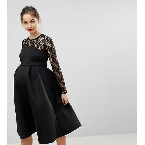 ASOS MATERNITY Lace Long Sleeve Crop Top Prom Dress - Black