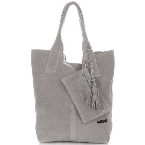 Torebki skórzane typu shopperbag xl włoskiej firmy wykonane z wysokiej jakości zamszu naturalnego jasno szara (kolory) marki Vittoria gotti