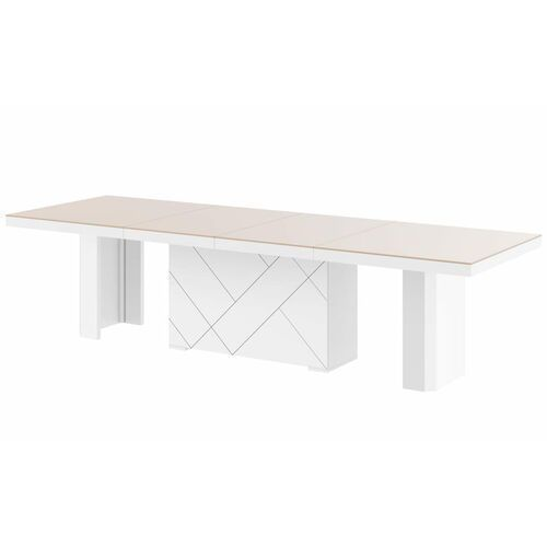 Hubertus Stół kolos max 180-468 cappucino-biały połysk