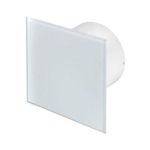 Cichy wentylator łazienkowy silent + wymienne panele czołowe różne funkcje: higro,timer model: włącznik pociągany, średnica: 100 mm, panel frontowy: białe szkło marki Awenta