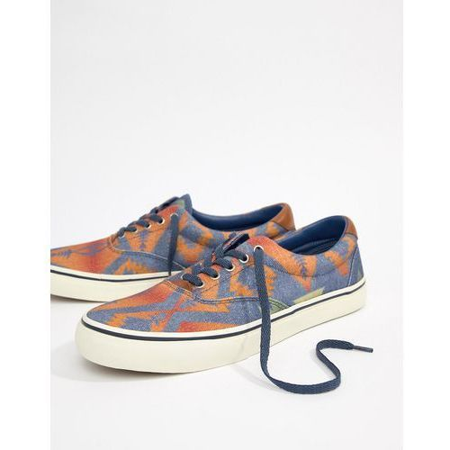 thorton canvas trainers beacon blanket print in blue multi - multi, Polo ralph lauren