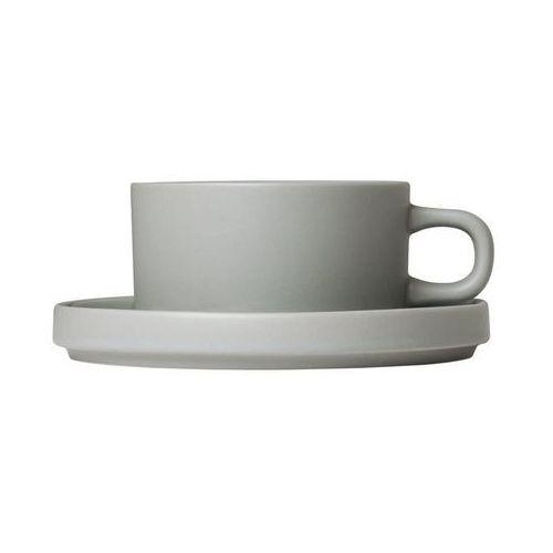Blomus Filiżanki do herbaty ze spodkami mio jasnoszary, 2 zestawy (b63912)