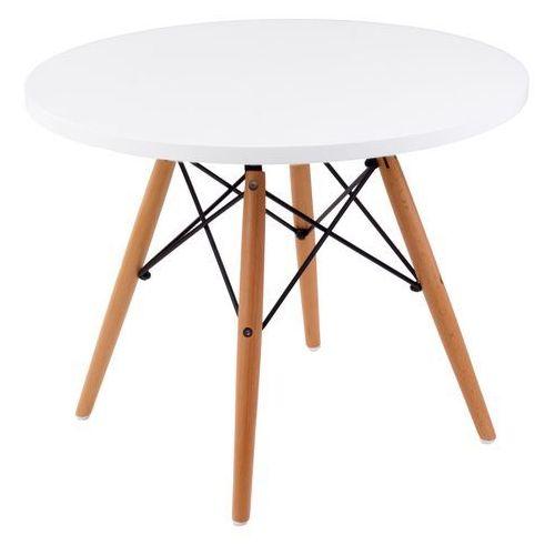 Stolik DTW średnica blatu 60 cm biały, drewniane nogi, T_2c3d3dc2-da57-4d1b-8d59-906165162f05
