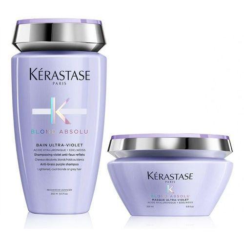 Kerastase blond absolu ultra-violet | zestaw minimalizujący żółty odcień włosów blond: kąpiel 250ml + maska 200ml marki Kérastase