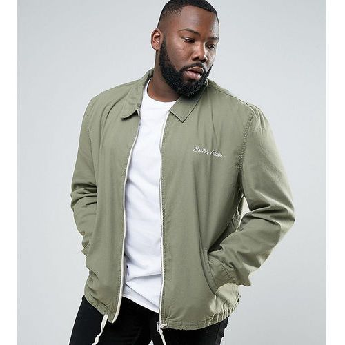 big and tall coach jacket with boston motif in khaki - green marki River island