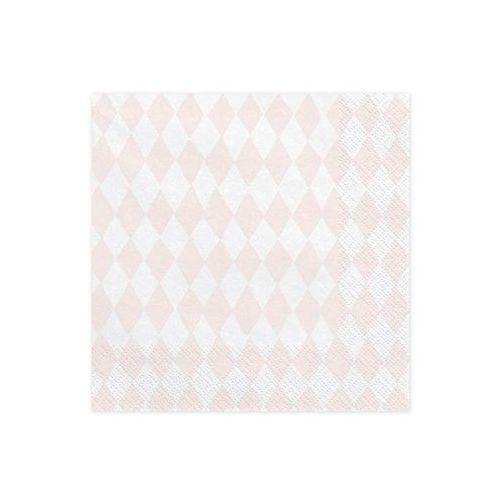 Serwetki różowe romby - jednorożec - 33 cm - 20 szt. marki Party deco