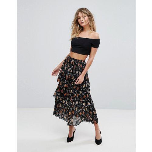 New Look Floral Tiered Midi Skirt - Black, kolor czarny